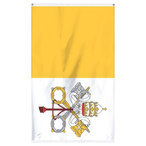 Vatican CIty Papal National flag for sale to buy online from the American company Atlantic Flag and Pole. A vertical bicolour of gold and white; charged with the Coats of arms of the Vatican City centered with the keys to heaven.