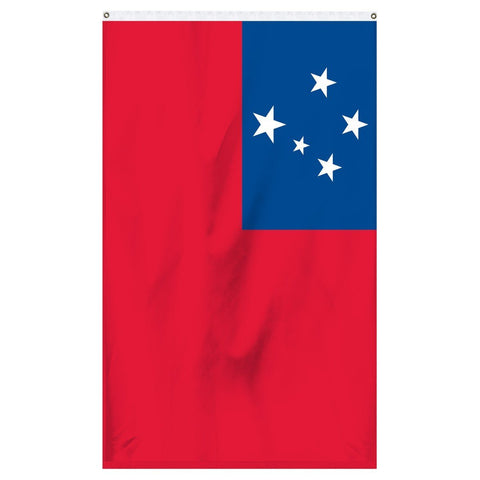Western Samoa National flag for sale to buy online from Atlantic Flag and Pole, an American company. A red field with the blue rectangle on the upper hoist-side quadrant bearing the Southern Cross of four white larger five-pointed stars and the smaller star in the center.