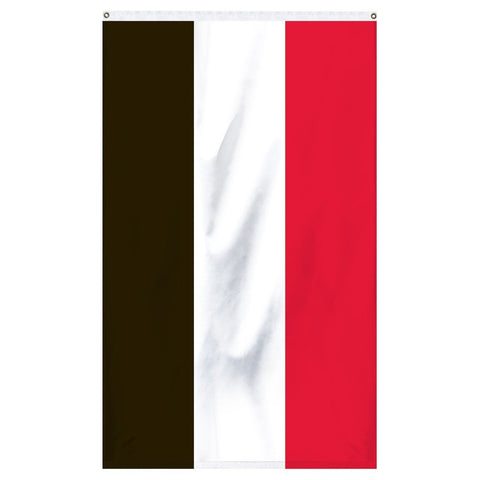 Yemen National flag for sale to buy online from Atlantic Flag and Pole, an American company. A horizontal tricolor of red, white and black.