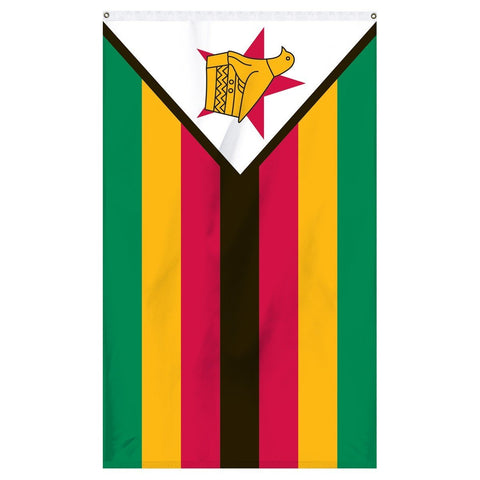 Zimbabwe National flag for sale to buy online from Atlantic Flag and Pole, an American company. Seven horizontal stripes of green, yellow, red, black, red, yellow and green with a black-edged white isosceles triangle base on the hoist side bearing a Zimbabwe bird superimposed on a red five-pointed star.