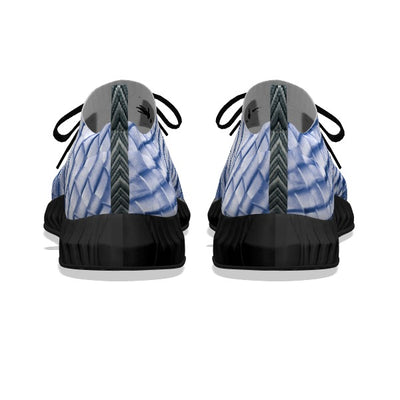 Blue & White Leather Weave - Black Soles