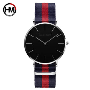Japan Quartz Movement Waterproof Black Nylon Sport Casual Watch Unisex