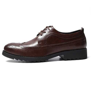 Men Carved Leather Brogue Casual Formal Shoes