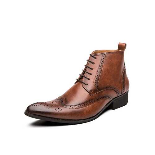Men Vintage Brogue Pointed Dress Boots