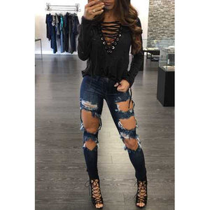 Women Sexy Bandage Deep V Hoodies and Tops with Hollows Black