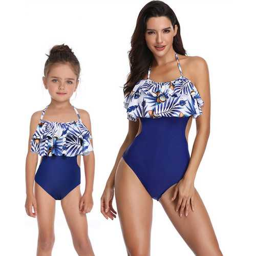 Blue Coconut Lotus Leaf Edge Swimsuit 1 Piece Family Matching Girl Bathing Suit
