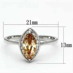 TS098 - 925 Sterling Silver Ring Rhodium Women AAA Grade CZ Champagne