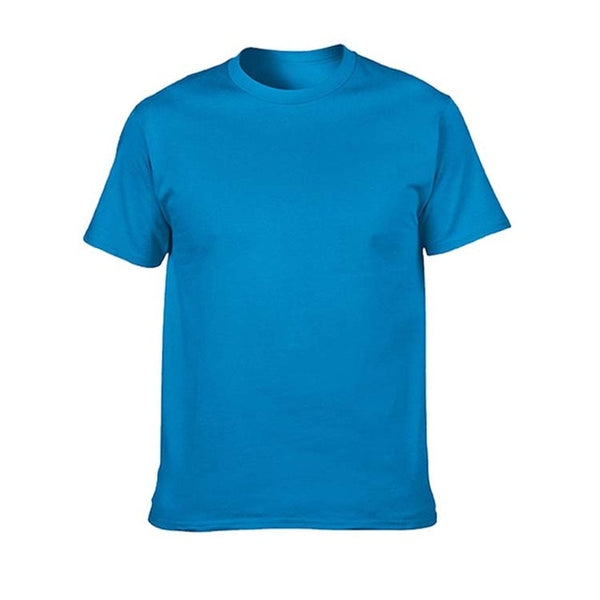 Blank T-Shirt Men Short Sleeve Tshirts Solid Cotton