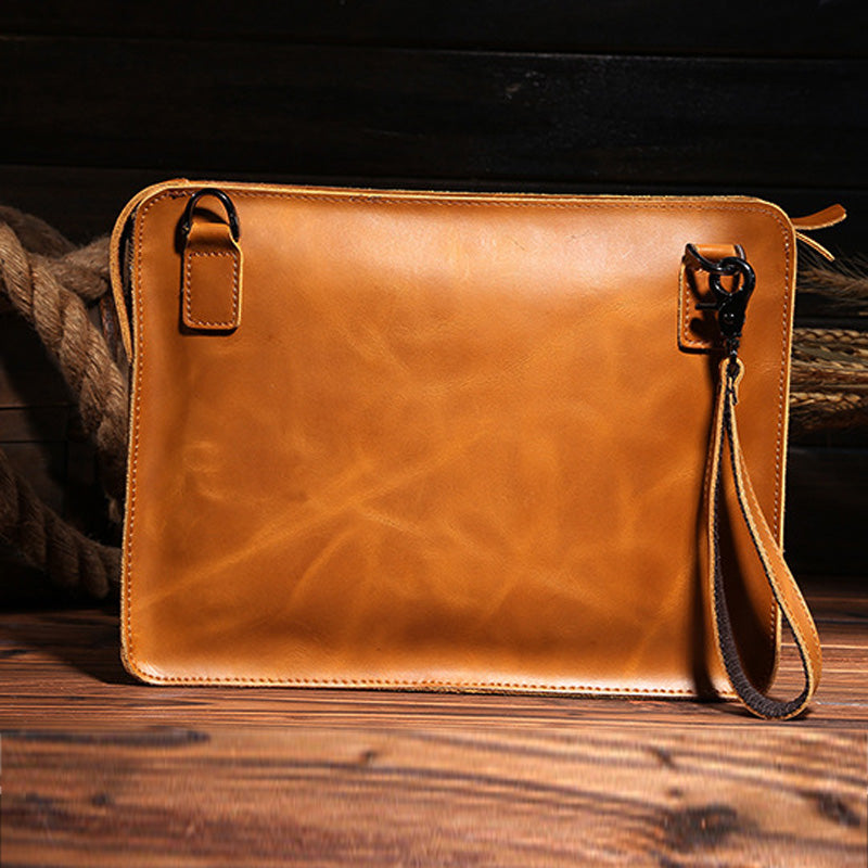High Quality Genuine Leather Cowhide Men Vintage Messenger Shoulder Hand Bag