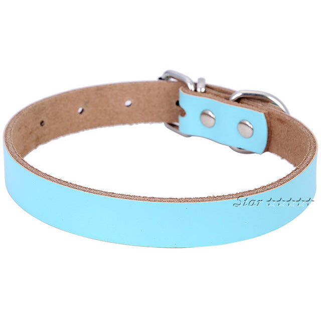 Solid  Leather Dog Collar Neck Strap  Size ( S M L )