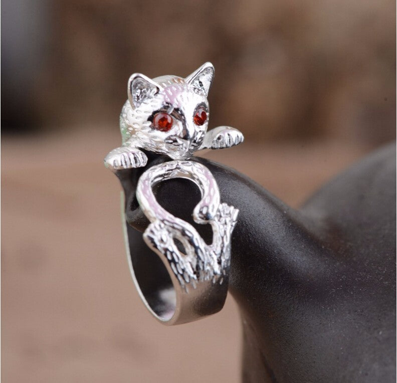 Cat  sterling silver ladies`adjustable ring