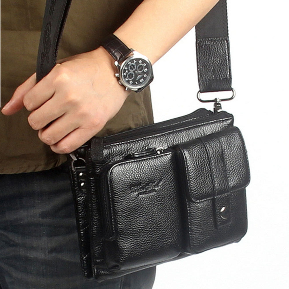 Men Genuine Leather  Cowhide Messenger Shoulder Cross Body Bag