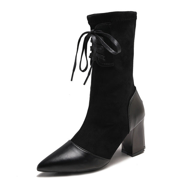 Women Mid-Calf Boots Latest Fahsion Casual Lace-up