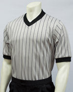 ASB18 Smitty Performance Mesh Gray w/Black Pinstripe V-Neck Shirt BKS-205