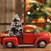 Retro Vintage *All Metal* Little Red Farmhouse Christmas Truck Decor