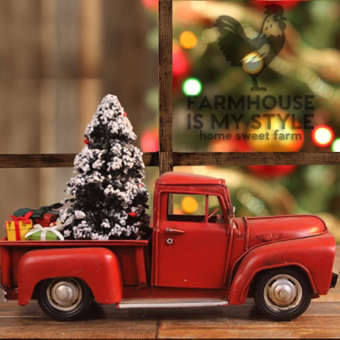 Retro Vintage All Metal Little Red Farmhouse Christmas Truck Decor Farmhouse Is My Style