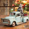 Retro Vintage *All Metal* Little Blue Farmhouse Christmas Truck Decor