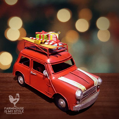 All Metal Little Red Christmas Cottage Car with Skis and Gifts