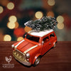 All Metal Little Red Christmas Cottage Car with Tree