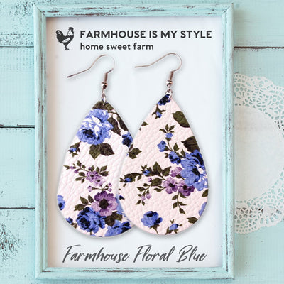 Cute Farmhouse Floral Faux Leather Earrings