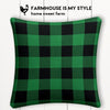 Green Buffalo Check Farmhouse Burlap Pillow Cover