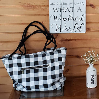 Black and White Buffalo Check Farmhouse Hand Bag / Shoulder Bag / Purse