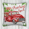 Little Red Christmas Truck Farmhouse Burlap Pillow Cover