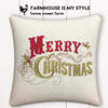 Merry Christmas Retro Farmhouse Burlap Pillow Cover