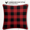 Red Buffalo Check Farmhouse Burlap Pillow Cover