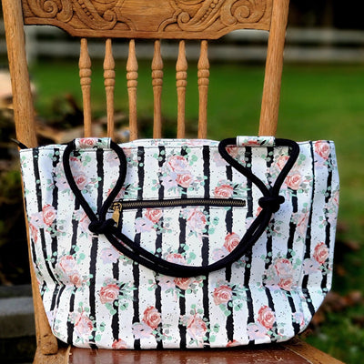 Black White and Blooms Farmhouse Hand Bag / Shoulder Bag / Purse