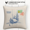 US Mail Christmas Card Farmhouse Burlap Pillow Cover