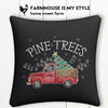 Christmas Red Truck Pine Trees Farmhouse Burlap Pillow Cover