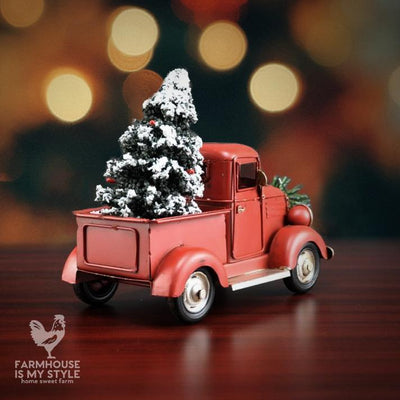 Vintage Little Red Farmhouse Christmas Truck