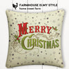Merry Christmas Retro Green Farmhouse Burlap Pillow Cover