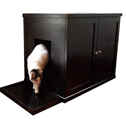 Wooden Cabinet With Hidden Cat Litter Box By The Refined Feline   $178.82