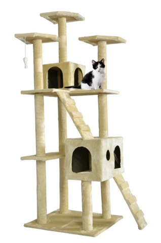 the bestpet line of cat trees for large cats will give your cat the best day ever it has three perches two condos and a ladder