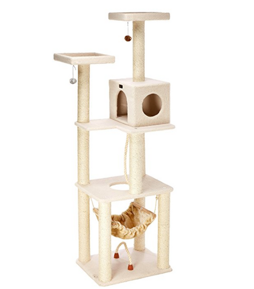 5 Story Cat Tree Condo with Cat Hammock by Armarkat - Beige