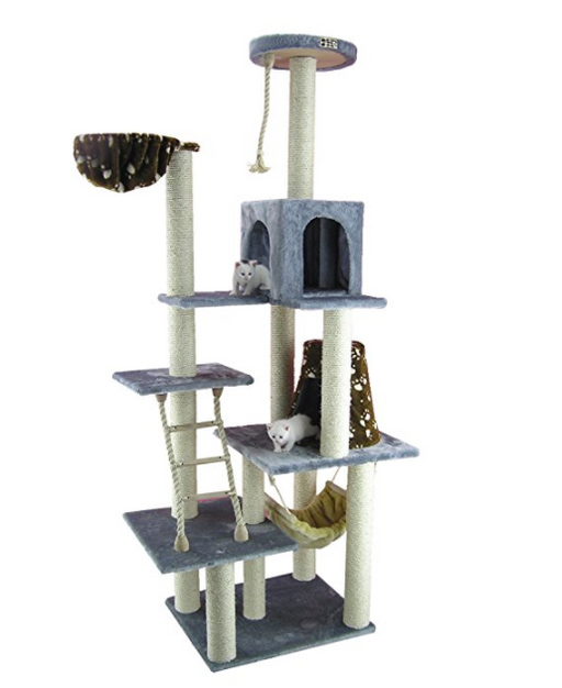 7 story deluxe cat tower with cat hammock by armarkat   baby blue cheap cat hammocks for sale online   purrsy  u2014 purrsy  rh   purrsy