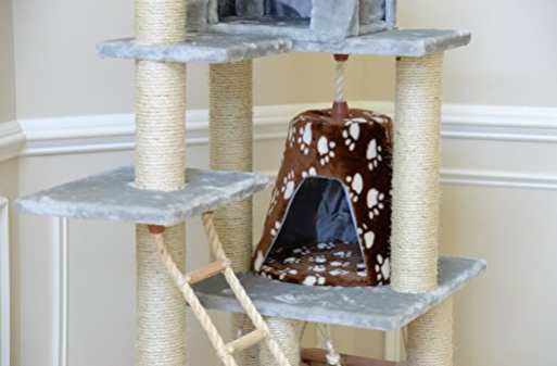 7 Story Deluxe Cat Tower with Cat Hammock by Armarkat - Baby Blue