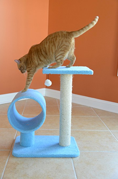 Small Cat Tree with Cat Scratcher by Armarkat - Baby Blue