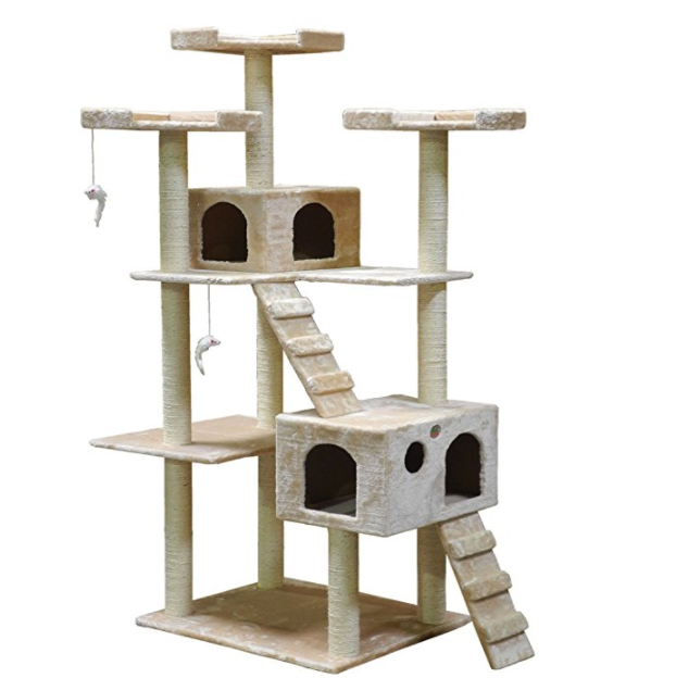 6 Foot Tall Cat Tower by Go Pet Club - Beige