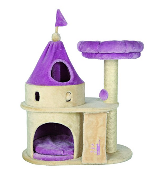 3 story purple cat castle with scratcher by trixie pet products