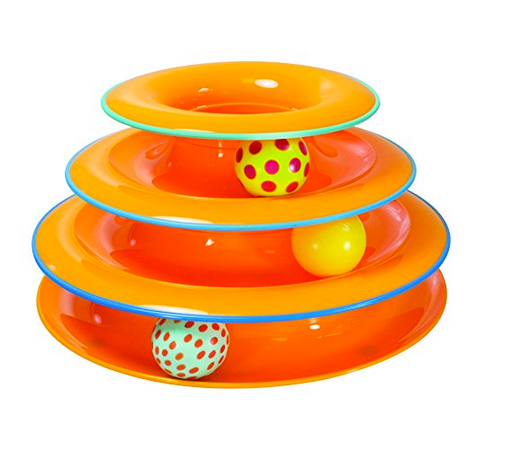 4 Story Tower of Tracks Cat Toy by Petstages - Orange
