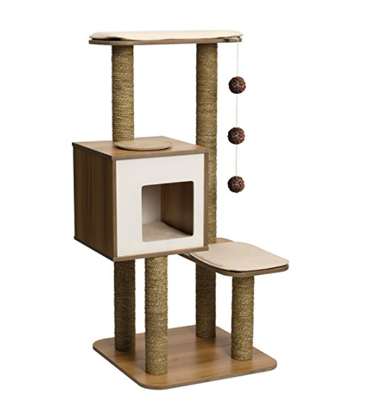 Mid Century Modern Cat Tower with Scratching Posts by Vesper