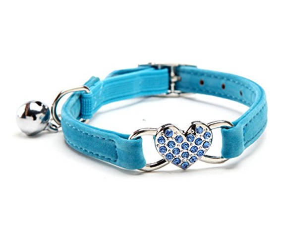 Velvet Cat Collar with Bling Heart and Bell by Kooltail - Assorted Colors