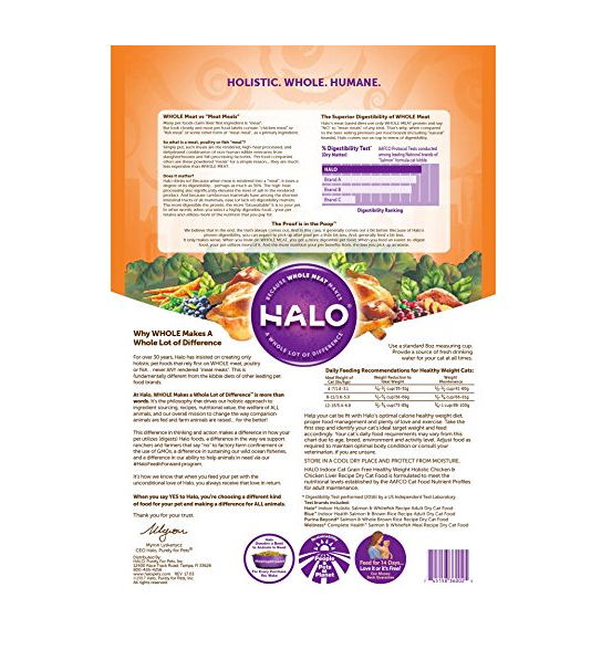 Grain-Free Dry Indoor Cat Food by Halo - Chicken - 12 Pounds