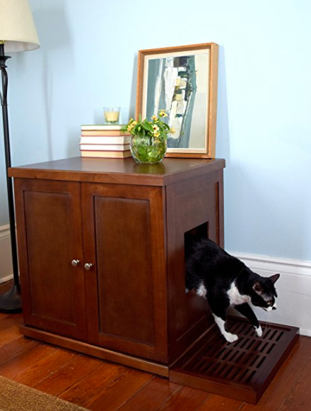 Fancy Wood Litter Box by The Refined Feline - Side Entry