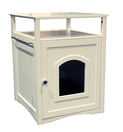 Fancy Side Entry Litter Box Nightstand By Merry   White/Espresso