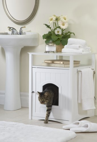 Fancy Side Entry Litter Box Nightstand by Merry - White/Espresso