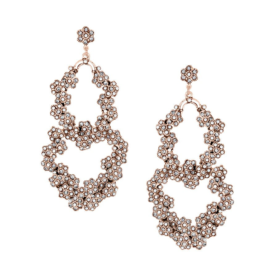 Vintage Pearl and Crystal Floral Earrings